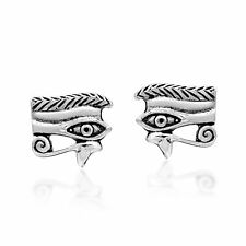 Mystical Eye of Horus in a Pyramid of Sterling Silver Stud Earrings
