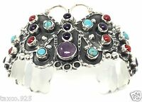 TAXCO MEXICAN STERLING SILVER AMETHYST TURQUOISE BUTTERFLY CUFF BRACELET MEXICO