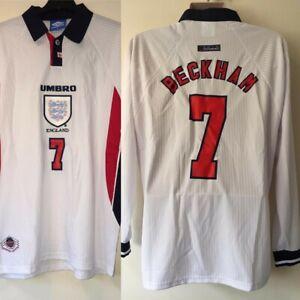 (XL) England 1997/1999 1998 Home Shirt Long Sleeve David Beckham Football Jersey