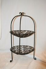 Two Tier Black Fruit Bowl: Spiral Design, Metal, Great Condition.