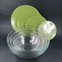 Vintage ARC International Glass Nesting Mixing Bowls WITH Green Lids France