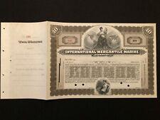 INTERNATIONAL MERCANTILE MARINE COMPANY STOCK CERTIFICATE EARLY TITANIC 1902 RRR