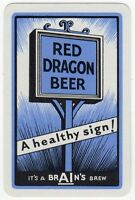 Playing Cards 1 Single Card Old BRAIN'S Brewery Advertising RED DRAGON BEER Pub