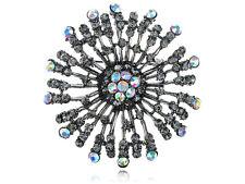Necklace Pendant Pin Brooch Big Flower Aurora Borealis Crystal Rhinestone