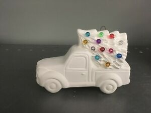 Ceramic Bisque TRUCK w/  CHRISTMAS TREE Ornament Hook Bisque Ready to Paint