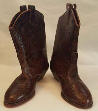 Women's Cowboy Boots TicTacToes  Floral Tooled Brown Leather Pull-On    6.5 EE