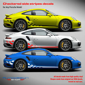 Checkered Side Graphic Design to any Porsche
