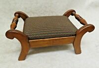"""Antique American Cherry Wood 18"""" Long Two Handle Foot Stool w/ Upholstered Seat"""