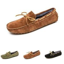 Mens Low Top Faux Leather Driving Moccasins Shoes Fur Inside Warm Loafers Soft L