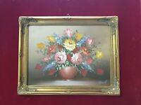 quadro con fiori classico dipinto olio su tela cornice in legno foglia oro 37x47
