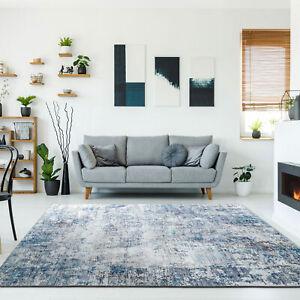 Large Floor Rug Runner Blue Halo Dye Rug Abstract Print Modern Carpet Easy Clean