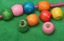 30PCS Mixed large color Wood bead Spacer charms loose Big Hole 8mm Beads 17x16mm