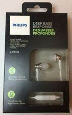Philips Deep Bass In-Ear Earbuds with Mic - Silver Aluminium SHE8105 Headphones