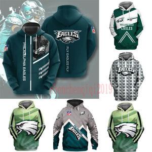 Philadelphia Eagles Hoodie Fan's Hooded Pullover Sweatshirt Casual Jacket Coat