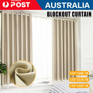 Blockout Curtains Thermal Blackout Curtains Fabric Pair Eyelet for Bedroom NEW