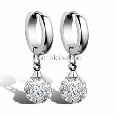 Stainless Steel Womens Drop Earrings w Ball Dangle for Wedding Silver Tone Gifts