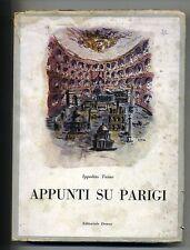 Ippolito Taine # APPUNTI SU PARIGI # Editoriale Domus 1945 1A ED.