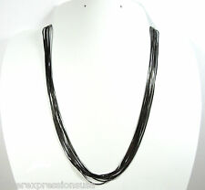 Solid 925 Sterling Silver Black Rhodium Italy Snake Chain Necklace 18""