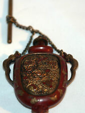 Original ANTIQUE c1800's~~ CHATELAINE PERFUME  PENDANT~~BRASS detailed NOVELTY