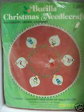 "VTG BUCILLA CREWEL FELT APPLIQUE KIT ""HOLIDAY ORNAMENTS"" TREE SKIRT 45"" SEALED"