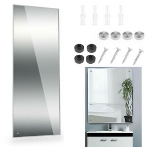 Large Frameless Bathroom Mirror Glass Pre Drilled Holes & Wall Hanging Fixings