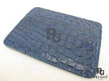 Pelgio Genuine Crocodile Alligator Skin Leather Slim Credit Card Holders Blue