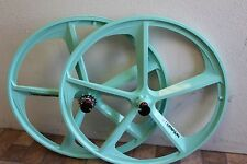 700C Aluminum 5-Spoke Mag Rim Front & Rear Fixed Gear Bicycle Wheel Set, Mint