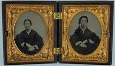 LATE 1800's NINTH PLATE TINTYPE-POSSIBLY SISTERS IN GUTTA PERCHA FRAME