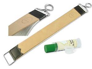 Solingen Paste mit Rasiermesser Streichriemen Abziehleder Lederriemen Echt Leder