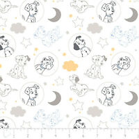 Disney 101 Dalmatians Time for Bed White Camelot 100% Cotton fabric by the yard