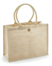 WESTFORD MILL LARGE SHOPPER BAG BUTTON LAMINATED JUTE COTTON ECO SHOPPING HANDLE
