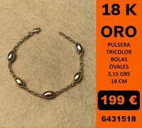 18K Pulsera Tricolor Italiana Oro 18 Kilates 100%
