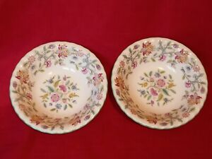 PAIR OF MINTON HADDON HALL CEREAL BOWLS