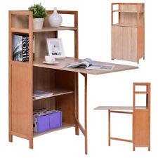 Fold Out Cabinet Folding Desk Convertible Workstation Book Shelf Wood Computer