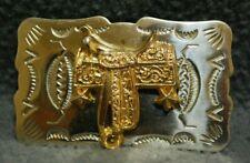 Vintage Nickel Silver Western Gold Saddle Belt Buckle