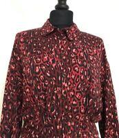 Zara Size XS Red Multi Animal Print Long Sleeve Shirt Blouse Top Size XS