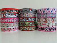 ✄ Printed Grosgrain Ribbon Dummy Hair Clips Cake Craft Hair Bow 1 Meter 22/25mm