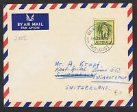 1959-64 2/5d wattle on yellow on airmail cover to Switzerland NS722