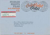 """USA 1969, Human Rights Year 13 C Aerogramme to """"ST. GALLEN, Switzerland"""""""