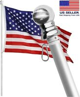 Wind Resident and Rust Free Flag Pole with Bracket and Tangle Free Rings HIBLE 5ft Real Carbon Fiber Black Wall Mount American flagpole Set for Garden,Yard,Business and Residential