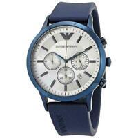 New! Emporio Armani Mens Chronograph Blue Rubber Strap Watch AR11026 FAST POST