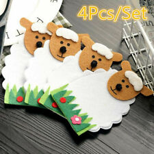 4Pcs/Set Lovely Sheep Shaped Tableware Pouch Pocket Fork Holder Bags Table H5N6