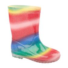 Girls Rainbow Bright Sparkly Glittery Rain Snow Wellies Wellington Boots NEW
