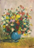 Print of Original oil painting art flowers floral rose impressionism shabby chic