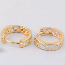 Classic Two Tone Gold Filled Womens Hollow Out Flower Small Hoop Earrings