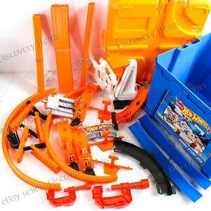 46 PC + BOX Hot Wheels Track Builder Stunt Box Builder Set - Excellent condition
