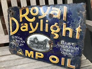 Double sided Royal Daylight Enamel Sign. petrol garage Oil advertising.