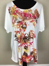 New Chico's 3 XL Midas Flower Dottie Doleman SS Cotton Top Shirt Tee Multi NWT