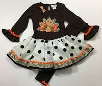 Emily Rose NWT 3T 5 6 Boutique Thanksgiving Turkey Dress Legging Outfit