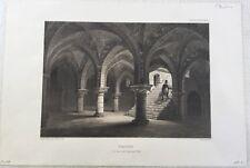Provins Cave de la Grange aux Dîmes - Lithographie 19e d'après Gravure nature